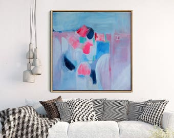 Abstract Wall Art, Abstract Art Print , Abstract Giclee Print , Modern Art Abstract ,from Original Abstract Acrylic Painitng, Blue Pink