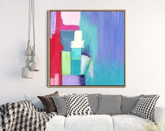 Abstract Painting, Giclee Print, Modern Art, Contemporary Seascape, Blue Green Red Pink