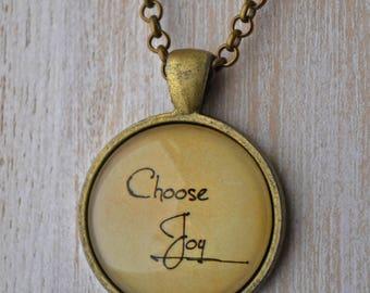 Gold Glass Tile Necklace - Choose Joy