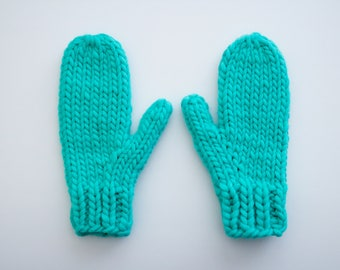 Chunky Hand Knitted 100% Alpaca Wool Mittens OS