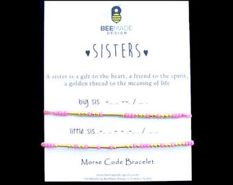 Clothing gift Sisters Bracelets for 2 matching bracelet Christmas Gifts for sisters big sis lil sis gift Sisters stocking stuffer for sister