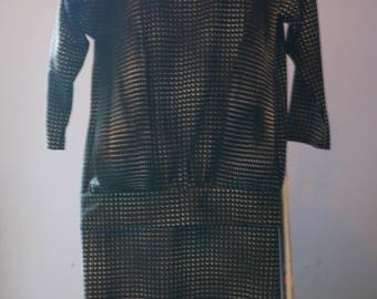 Size 12 Black and White Drop Waisted Dress