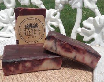 Patchouli Passion - Patchouli Essential Oil Blend - 4 ounce soap - Patchouli - Madder Root - Alkanet Powder - cold processed soap