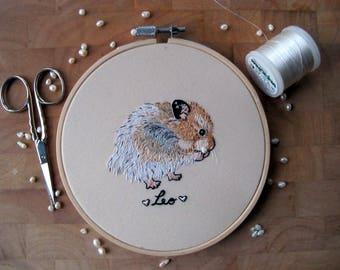 Pet portrait, custom pet portrait, hamster portrait, embroidery portrait,LITTLE CRITTERS, hand embroidery, cute pet embroidery, custom gift