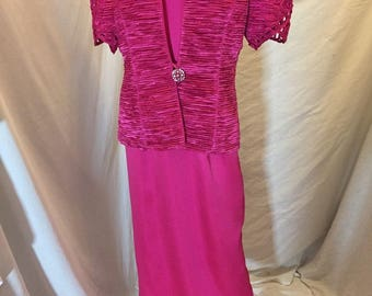 Vintage Karen Lawrence By Matthew 2 Piece Pink Formal Cocktail Dress and Jacket with Rhinestone Accents ILGWU Union Tag