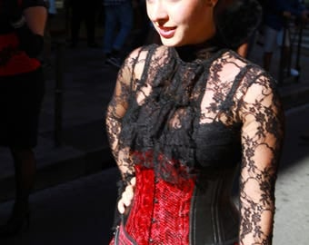 black and Red caiman leather waist cincher