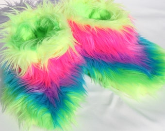 Outrageous - Rainbow Faux Fur Slippers Boots - Womens Slipper Socks - Slipper Booties Warm Winter Fuzzy Furry Fluffy Slippers House Slippers