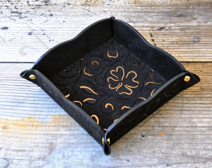 Suede Leather Valet Tray Limited Edition, Unique Catchall tray