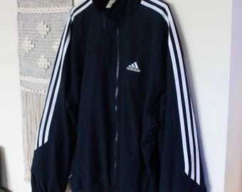 Vintage 90s adidas sweatshirt / shell jacket// navy with three white stripes and logo // oldschool adidas sportswear // size S
