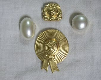 Classic Button Cover Set Pearls Rose Sun Bonnet Retro
