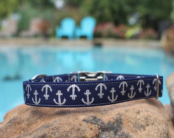 Anchors Collar | Preppy Dog Collar | Male Dog Collar | Female Dog Collar | Dog Collar | Pet Collar | Large Dog Collar | Small Dog Collar