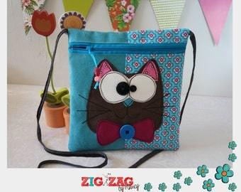 """Pocket zippered shoulder """"Bigkarre"""" cat Turquoise"""