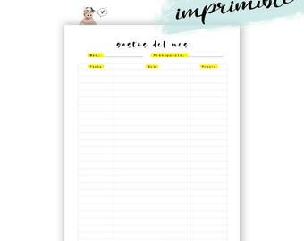 Planificador de gastos mensuales imprimible. Inserto agenda control dinero para imprimir.