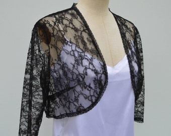 Black Lace, Black Lace, black bolero cover-up Bolero, hides heart Black Lace wrap-black, bolero lace chic black