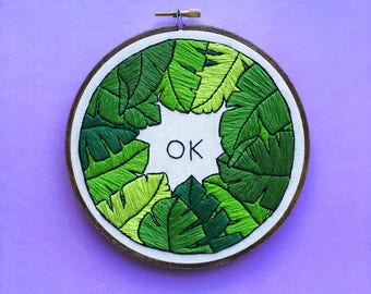 Ok Banana Leaf Green - Contemporary Embroidery