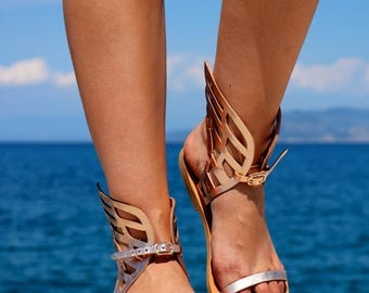 Leather Sandals - NEW Hermes Winged leather Sandals, Ancient Greek handmade leather sandals, Women sandals, Copper color