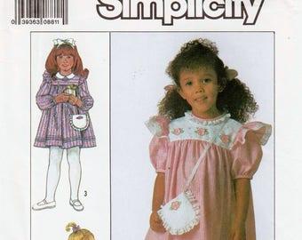 Girls Sunday Dress Girls Purse Pattern SIMPLICITY 9128 UNCUT Girls Size 3 Dress Childs Dress Patter Church Dress Pattern Puff Sleeve Dress