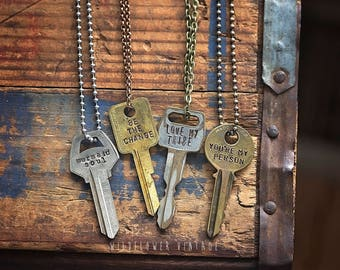 Vintage Quote Key Necklace   Phrase Hand Stamped Repurposed Gift Boho Unisex Jewelry