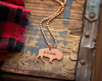 Buffalo Bison Necklace | Hand Stamped Copper Roam Live Free Boho Style Gifts for Women