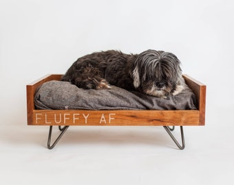 Custom Dog Furniture | Raised Dog Bed | Washable Dog Bed | Mid Century Dog