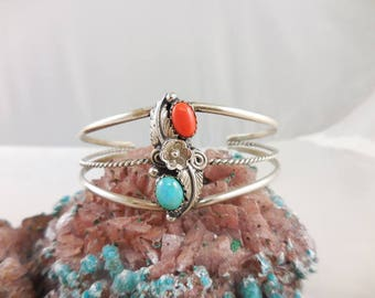 Native American Turquoise Coral Sterling Silver Cuff Bracelet