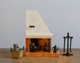 Lundby Corner Fireplace with Extras - 1:16 / 3/4 Inch Scale Vintage Wooden Dollhouse Furniture