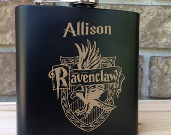 Ravenclaw House Coat of Arms - Harry Potter Theme Engraved Single Flask Personalized with First Name - SHIPS from the USA