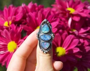 Opal Multistone Shield Ring
