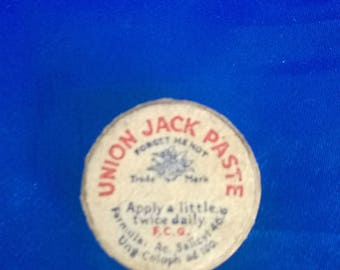 Vintage Union Jack Paste Container, Used
