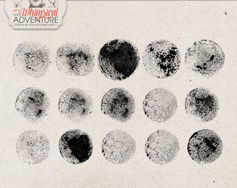 Handmade Stamped Rounds, Painted Photoshop brushes, Sponge, Commercial Use OK, Instant Download, Digital Scrapbooking, Art Journaling