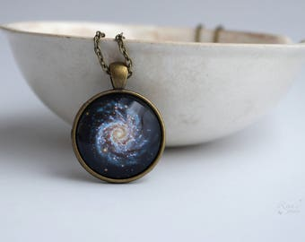 Milky Way Necklace, Spiral galaxy necklace, Night Sky Gift for girlfriend, Dark galaxy pendant, Nebula necklace, Space jewelry gift for her
