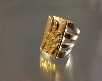 Feather silver ring |Adjustable Golden plated feather ring |Sterling silver feather ring