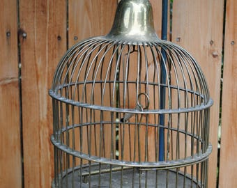 Large heavy Brass rounded top bird cage