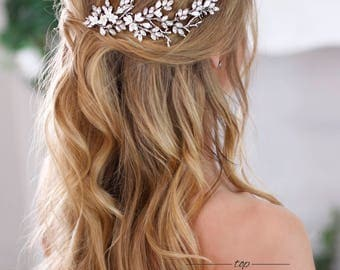 Bridal hairpiece Crystal hair comb Wedding headpiece Crystal hair piece Floral Bridal Hair Comb Flower Hair Comb Rhinestone headpiece