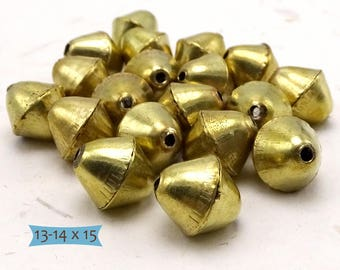Large Handmade Solid Brass Bicone Beads--5 Pcs.  26-1315BR-5