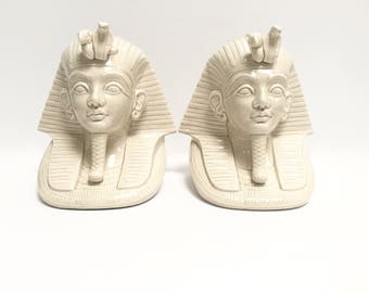 Fitz and Floyd white ceramic pharaoh bookends, a pair | King Tut bust | sphinx | Egyptian decor | vintage modern | retired design | 1977