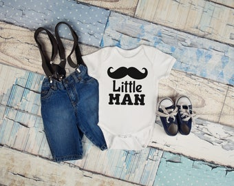 Little Man Mustache Funny Newborn Baby Girl Boy Toddler Clothes Rompers Baby Shower Birthday Gift Idea Coming Home Tee Shirt Brother Sibling