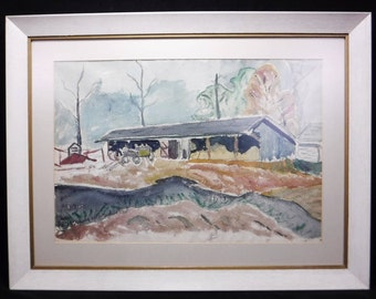 Farm Painting/Original Watercolor/Barn Painting/Farmhouse Decor/Wall Decor/Framed under Glass/29x22/Implement Shed/Vintage