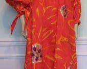 1970s Designer Gown Lila Bath Orange Sequins Designer Mexican