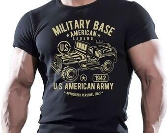 Military base. US American Army. Men's Black Cotton T-shirt.
