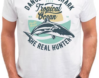 Dangerous Shark. The Real Hunter. Men's white cotton t-shirt