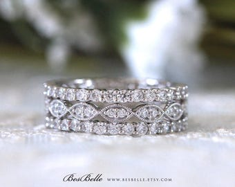 2.12 ct.tw Deco Mixed Full Eternity Ring Set-Brilliant Cut Pave Diamond Simulants-Stackable Ring-Wedding Band Ring-Sterling Silver [65429-3]