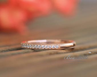 1.5mm Milgrain Rose Half Delicate Eternity Band Ring-Brilliant Cut Micro Pave Diamond Simulant-Rose Gold Plated-Sterling Silver [0854RGH]