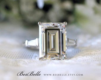 9.0 ct.tw Engagement Ring-Emerald Cut & Tapered Baguette Cut Diamond Simulants-Bridal Ring-Wedding Ring-Sterling Silver [5113]