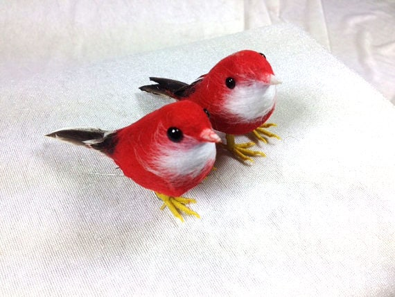 2 red birds craft supplies embellishments artificial birds for Fake birds for crafts