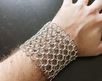 "2.75"" Chainmail Bracelet / Cuff - Chainmaille Jewellry - Steel Silver Metal - Norse Viking Accessory - Medieval Fantasy - Ren Faire Wear"
