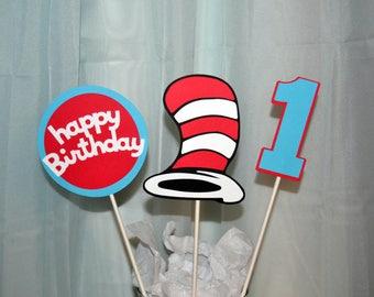 Dr.Seuss Centerpiece Set, Dr.Seuss Cake Toppers, The Cat in the Hat, Dr Seuss Birthday, Dr.Seuss party decorations