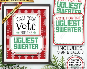 Ugly Christmas Sweater Party Voting Sign and Ballots, Vote for the Ugliest Christmas Sweater Party, PRINTABLE Sign/Ballots <ID>