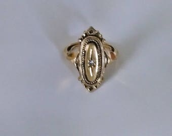 Ladies Vintage Gold Tone Art Deco Style Adjustable CZ Star Ring from AVON