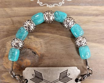 Arrows with Glass Turquoise & Silver Beads